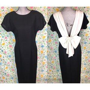 Vintage 80s 90s Karin Stevens Open Back Dress
